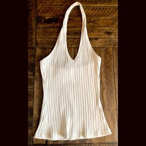 White Ribbed Boutique Halter Tank Top
